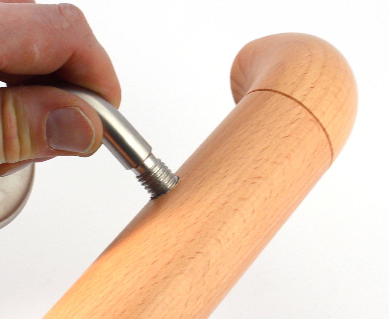 Buche, 140cm Holz-Handlauf Set mit halbrunden Abschl/üssen und Haltern 50-250cm am St/ück